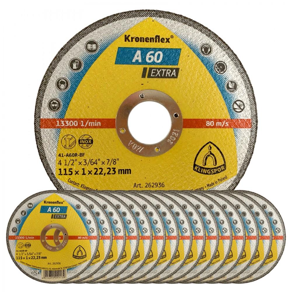 """Klingspor Kronenflex 4 1/2"""" Stainless Steel Cutting Disc - BOX OF 25"""
