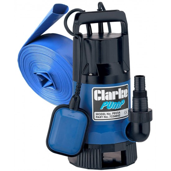 Clarke 400w Dirty Water Submersible Pump PSV3A & FREE Hose