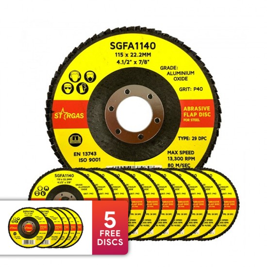 """15 Stargas 4 1/2"""" Abrasive Flap Discs - P40 For Steel (Includes 5 FREE discs)"""