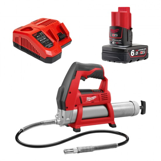 Milwaukee 12V Grease Gun Bare Unit with 6.0Ah Lithium-Ion Battery and Rapid Charger