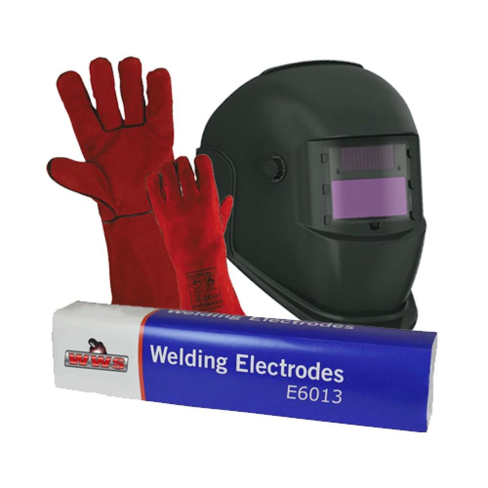 Light Reactive Welding Helmet with Gloves & Electrodes